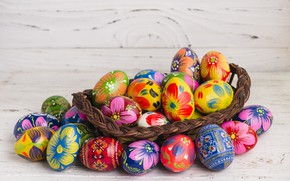 Picture basket, spring, colorful, Easter, wood, spring, Easter, eggs, decoration, Happy, busket, the painted eggs