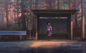Picture rain, girl, stop