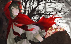 Picture girl, art, basket, red riding hood