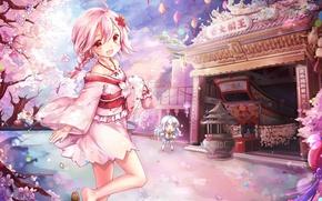 Picture spring, Sakura, temple, kimono, flowering, the altar, pink hair, two girls