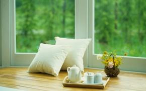 Picture summer, flowers, tea, pillow, window
