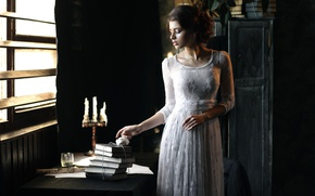 Picture girl, retro, table, books, candles, dress, vintage