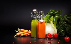 Picture greens, juice, drink, fruit, vegetables