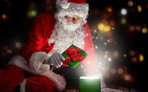 Wallpaper New Year, Christmas, night, merry christmas, gifts, santa claus