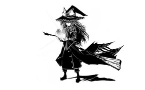 Picture spell, broom, art, witch, shaggy, Touhou Project, Marisa Kirisame, black magic, Acryl, witch hat