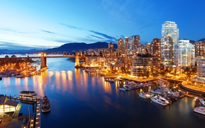 Picture mountains, bridge, lights, river, home, yachts, the evening, Canada, lights, Bay, Vancouver, boats, piers