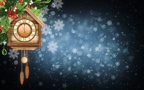 Picture Winter, Minimalism, Snow, Time, Watch, Christmas, Snowflakes, Background, New year, Holiday
