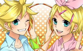 Picture girl, joy, guy, two, Vocaloid, Vocaloid, smile, Kagamine Len, Kagamine Rin
