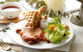 Picture greens, tea, salad, steak
