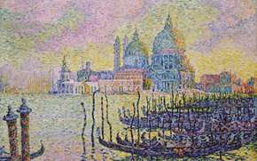 Picture boat, picture, Cathedral, gondola, Paul Signac, pointillism, The Grand Canal. Venice