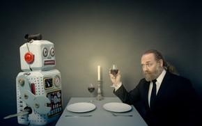 Wallpaper robot, lunch, people