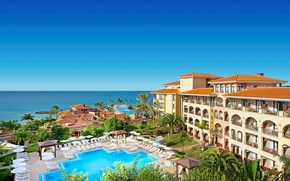 Picture sea, the sky, the sun, palm trees, pool, horizon, the hotel, resort, Spain, sun loungers, …