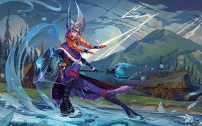 Picture girl, warrior, art, dota 2, crystal maiden, Rylai, crystal maiden valkyrie