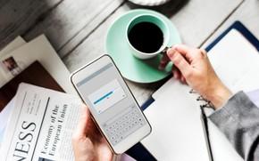 Picture coffee, mug, newspaper, phone