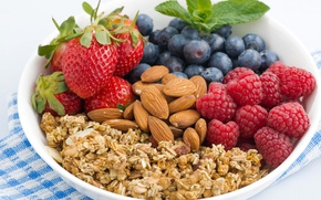 Picture berries, raspberry, blueberries, strawberry, nuts, almonds