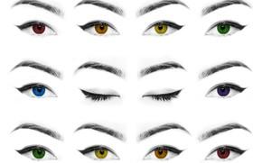 Picture eyes, eyelashes, eyebrows