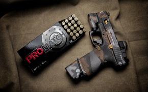 Wallpaper gun, box, cartridges, Glock, style