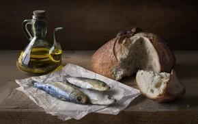 Picture oil, fish, bread