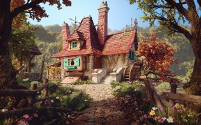 Wallpaper Rafael Chies, Belle's Cottage, art, house, illustration, Beauty and the beast