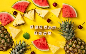 Picture summer, cherry, watermelon, pineapple, yellow background