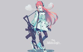 Picture girl, weapons, grey background