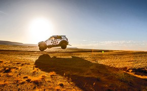 Picture Sunset, The sun, The sky, Sand, Mini, White, Sport, Desert, Speed, Jump, Race, Shadow, Heat, …