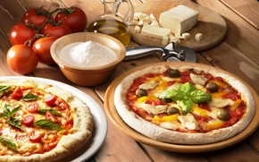 Picture cheese, pizza, tomatoes, Basil