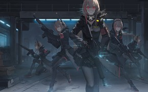 Picture night, weapons, girls, anime, girls frontline