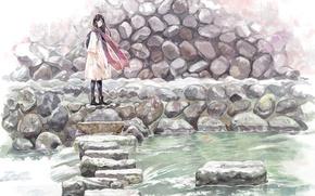 Picture girl, stream, stones, scarf, anime, art