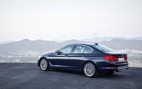 Picture the sky, asphalt, mountains, view, BMW, sedan, Playground, xDrive, 530d, Luxury Line, 5, dark blue, …