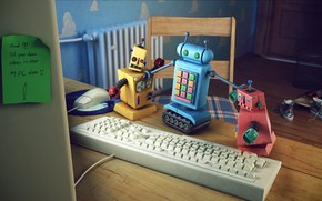 Picture table, toys, chair, note, keyboard, entry, final render, where, Fighting Robots
