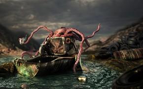 Picture pollution, fish, trough, monster, Octopus squat