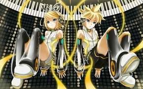 Picture tape, keys, two, Vocaloid, Vocaloid, Kagamine Len, Kagamine Rin