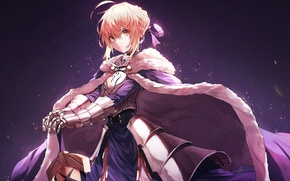 Picture girl, sword, armor, saber, fate stay night, anime, art
