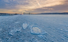Wallpaper Sleepy Hollow, ice, river, The Hudson River, Tappan Zee Bridge, Hudson River, The State Of ...