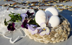 Picture flowers, eggs, Easter, Holiday, Verba