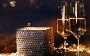 Picture decoration, night, gift, New Year, glasses, champagne, 2018, New Year, decoration, Happy