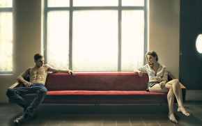 Picture girl, sofa, guy