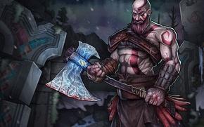 Picture game, blizzard, Kratos, God of War, snow, man, spartan, god, bald, symbols, runes, Valhalla, ax, …