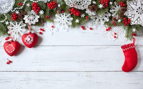Picture decoration, snowflakes, berries, tree, New Year, Christmas, hearts, Christmas, wood, Merry Christmas, Xmas, decoration