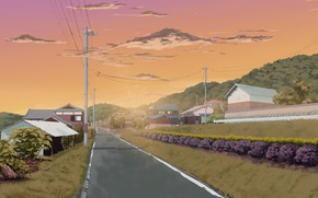 Picture road, greens, the sky, hills, posts, wire, home, Japan, village, art, Sasaki112