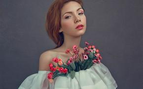 Picture look, girl, flowers, face, mood, portrait, makeup, neckline, flounce