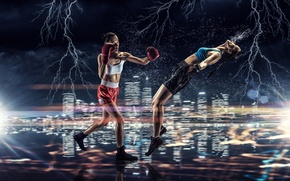 Wallpaper squirt, lights, background, girls, zipper, sport, two, Boxing, knockout, blow, gloves, briefs, athletes, Mikey, rival