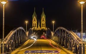 Picture night, bridge, lights, Germany, Church, Freiburg