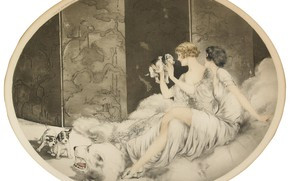 Picture Puppies, 1925, Louis Icart, art Deco, etching and aquatint, the polar bear's head
