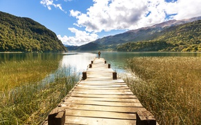 Picture forest, the sky, clouds, mountains, nature, lake, the reeds, people, pier, Sunny