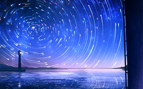 Picture sea, stars, night, lighthouse, smile