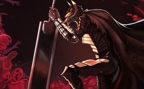 Picture demon, sword, blood, game, armor, devil, sky, anime, night, power, man, fight, ken, wolf, blade, …