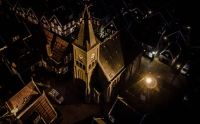 Picture night, lights, home, Church, Netherlands, Marken