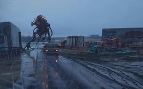 Picture road, rain, car, bio north